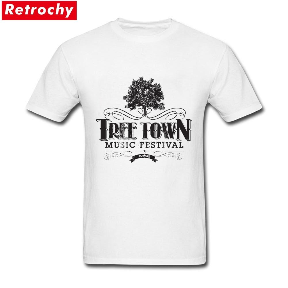 2017 New Popular Men's Tree Town T-shirt Short Sleeved Round Neck Organic Cotton Music Festival Big Size Custom Printed Man Tees