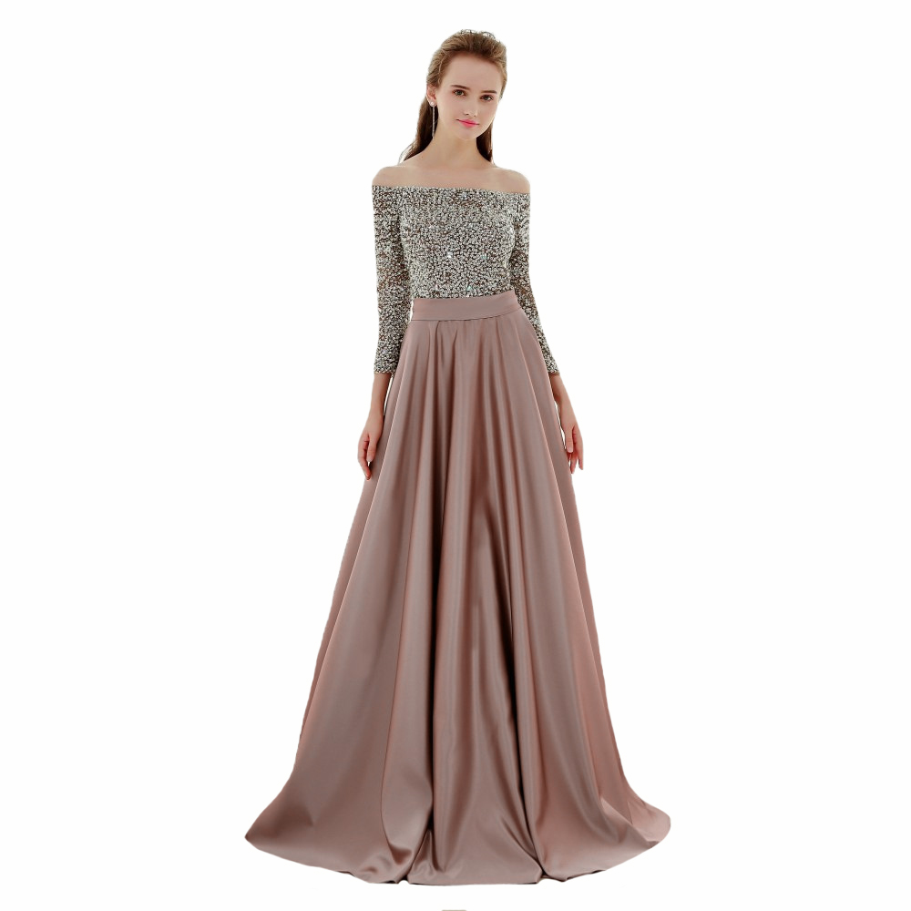 Off Shoulder New Lady Bridesmaid Dress Sequins Sexy 3/4 Sleeve Formal Wedding Party Guest Gowns Floor Length Prom Dresses(China)