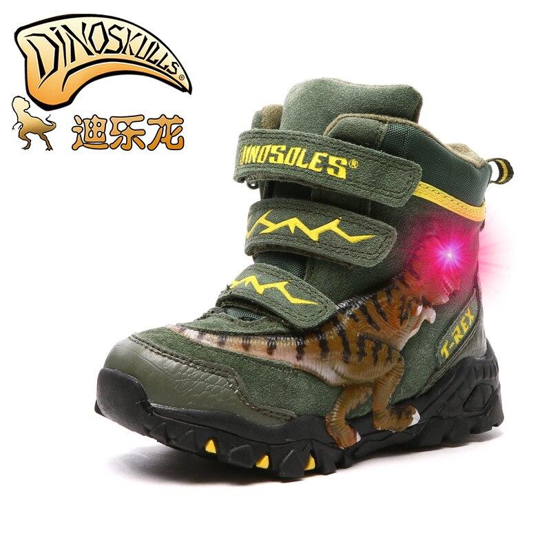 Dinoskulls Dinosaure Chaussures garçons Bottes 2018 d'hiver nouveau enfants chaud en peluche bottes Led lumineux chaussures enfants en cuir Véritable bottes de neige