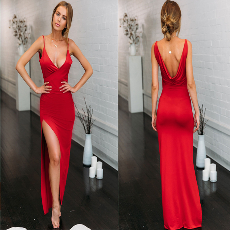 Summer hot casual women's elegant sexy strapless backless comfort dress Chic fashion design sling slit waist lady sexy dress