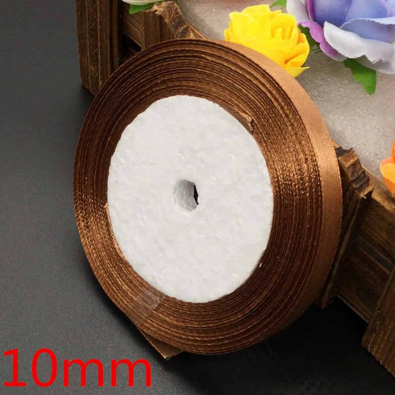 25 yardas 30 # marrón seda satén cinta boda fiesta decoración regalo envoltura Navidad Año nuevo ropa costura tela regalo cinta