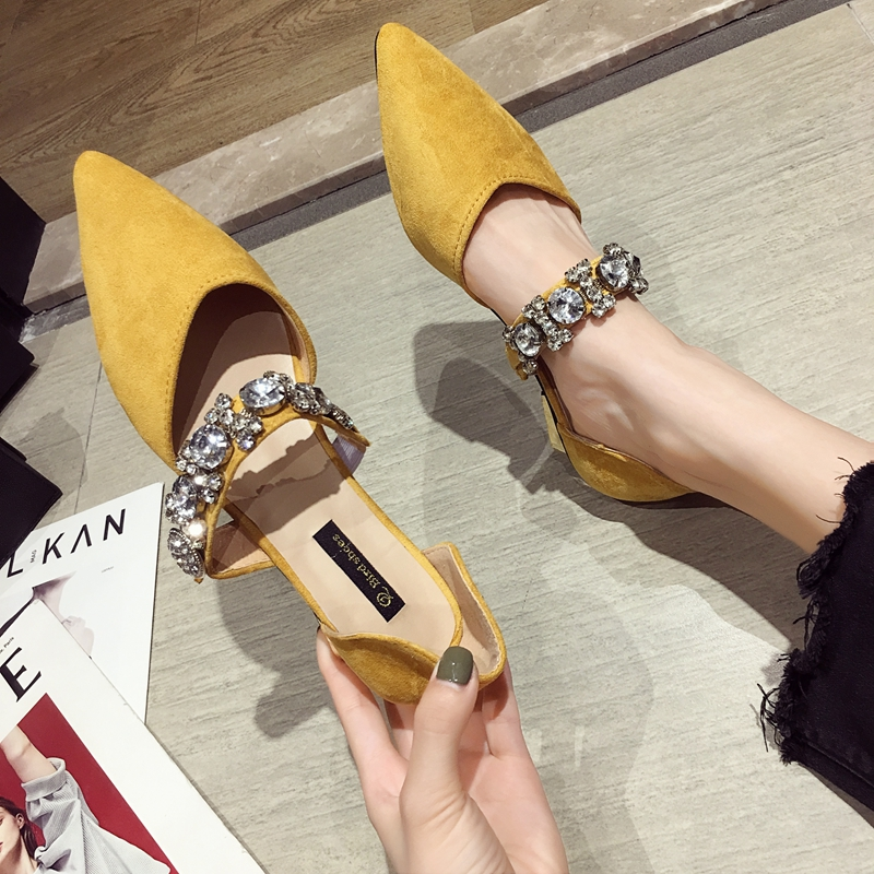 Women's Shoes Single Shoes 2019 Summer New Word With Pointed Flash Drill Low Heel Shoes