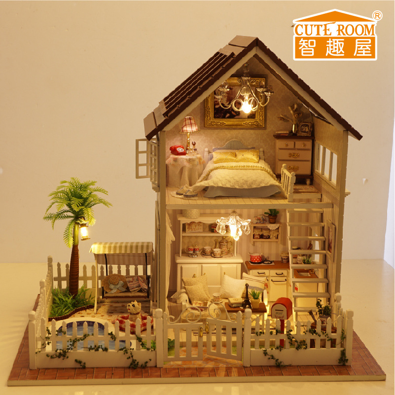 Cute room miniature puppenhaus for lover with the wooden for Mini mansions houses