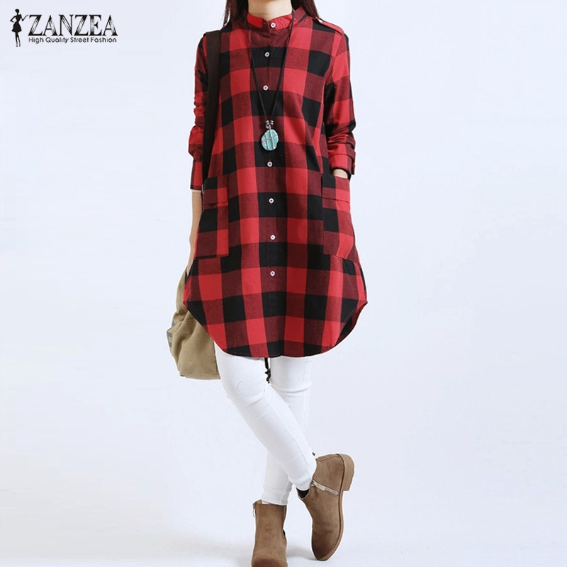 ZANZEA 2018 Spring Womens Kjæreste Plaid Shirt Langermet Cotton All Matchet Uregelmessig Casual Bluse Plus Size Blusas Topper