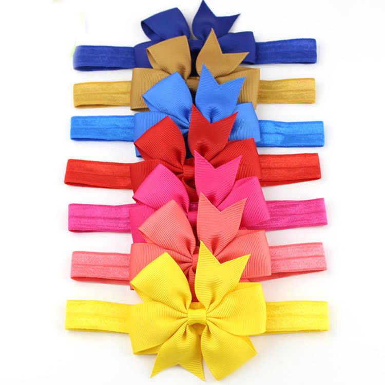 เด็กน่ารัก bow tie Headband โพลีเอสเตอร์โบว์ริบบิ้นผมยืดผมเด็กสวมใส่ง่ายอุปกรณ์เสริมผม Headwear Bule/ สีขาว