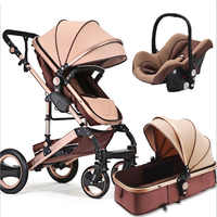 Bébé poussette 3 en 1 haut-paysage landau Portable pliant bébé landau haute qualité quatre roues bébé poussette