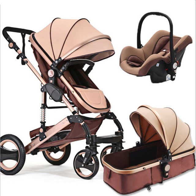 Cochecito de bebé 3 en 1 DE ALTO paisaje cochecito de bebé plegable portátil de alta calidad cochecito de bebé de cuatro ruedas
