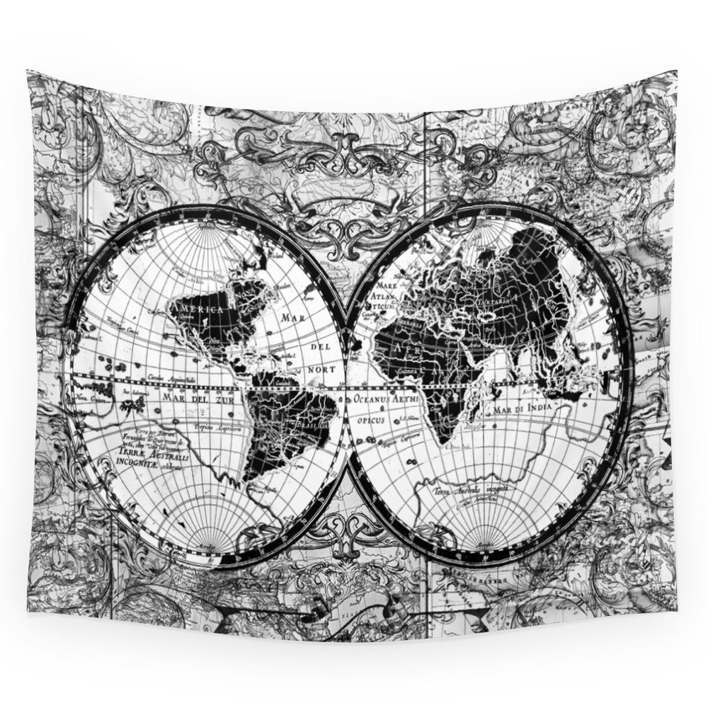 Black And White World Map Rug: World Map Black And White Wall Tapestry Wall Hanging