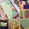 Fashion Girl Metal Chain Wallet Flip Leather Case For Samsung S6 S6 edge/S5 S4 S3 mini/Note 3 4 Cute Lace Bow Cell Phone Cover
