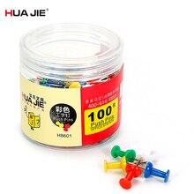 Colorful Fixing Pushpin Thumb Tack 100Pcs/Box Metal Paper Nail Painting Pin Standard Cork Nails School Office Supplies H8601