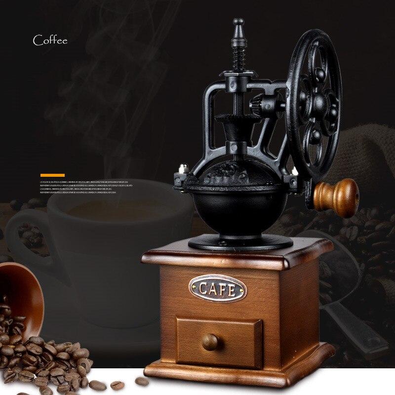 Retro Classic Wheel Coffee Manual Grinder Grinding Fast Log Labor Saving Hand-washing Mat Grinder Copper Wood Ceramic Core
