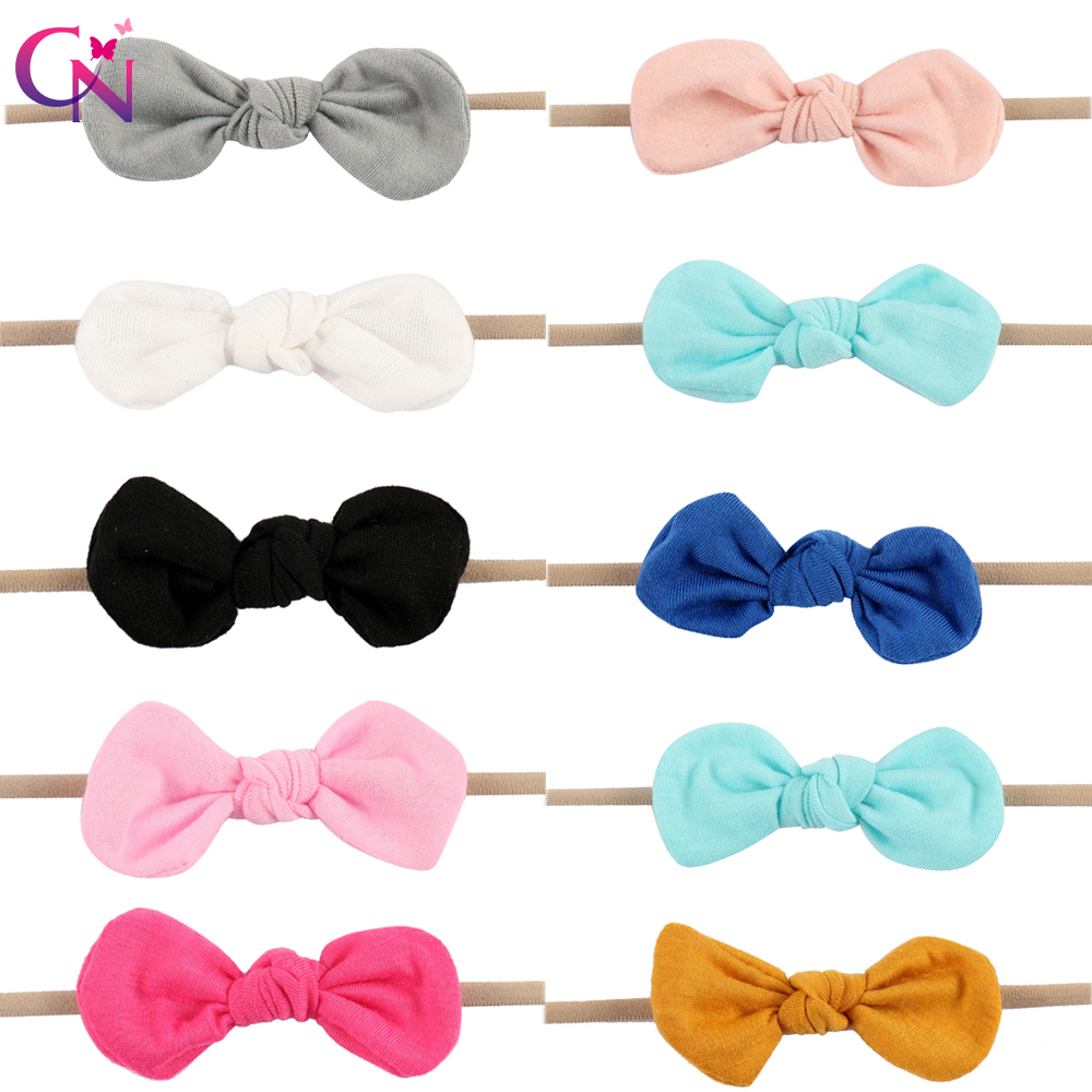 Elastic Fabric Bows Nylon Headbands For Kids Girls Princess Handmade Boutique Plain Knot Hair Bows Hairbands Hair Accessories boutique handmade dot kids girls hair ties elastic tiara bows satin flower hairbows headbands hairband floral accessories mt 36
