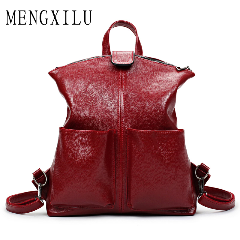 MENGXILU Brand Leather Backpack Women High Quality School Bags For Teenagers Girls Backpack Large Capacity Student Sac A Dos kaka brand new unisex fashion school backpack for teenagers large capacity travel bags girls boys high quality laptop bags