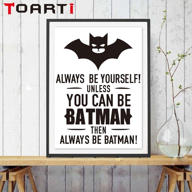 Bat Quote Minimalist Black White Canvas Painting Poster Animal Wall Picture For Kids Room Coffee Home Decor No Frame