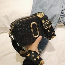 2019New Fashion Ladies Sequin Square bag High quality PU Leather Women Designer Mini Luxury Handbag Black Shoulder Messenger