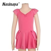 Girls Kid Rhythmic Gymnastics Leotards Dance Costume Ballet Bodysuit RG Dancewear Sports Wear Indoor Short Sleeves