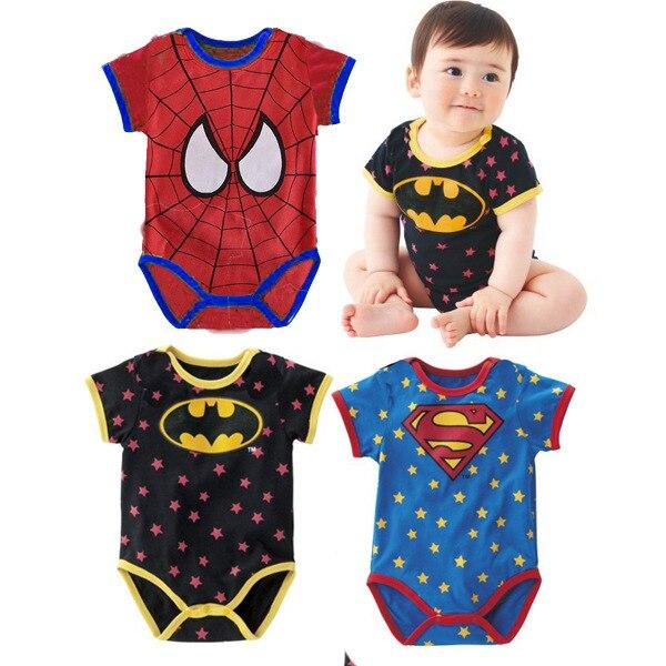 2018 Bebê Recém nascido Crianças Roupa Bebe Menino Polka Dot Camisa  Spiderman Batman Superman Bodysuit Playsuit Macacão Playsuits Engraçado em  Macacão Body ... 6e992bf75b7