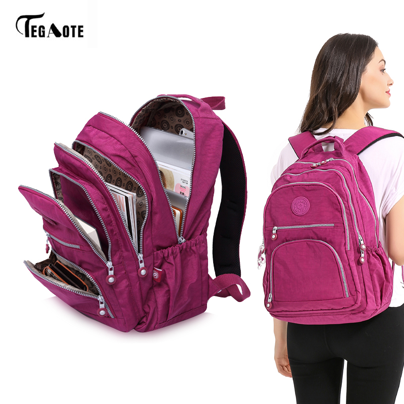 TEGAOTE School Backpack for Teenage Girl Mochila Feminina Women Backpacks Nylon Waterproof Casual Laptop Bagpack Female Sac A Do tegaote nylon waterproof school backpack for girls feminina mochila mujer backpack female casual multifunction women laptop bag