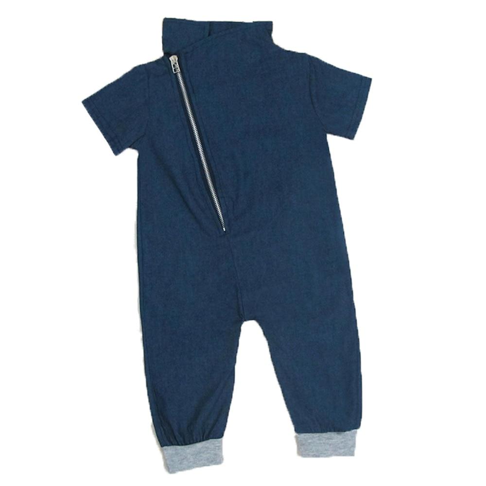 Koboi Satu-potongan Balita Mode Pakaian Unisex Bayi Baju Monyet Tubuh Jumpsuits Bayi Denim Jumpsuit Baju Dengan Ritsleting