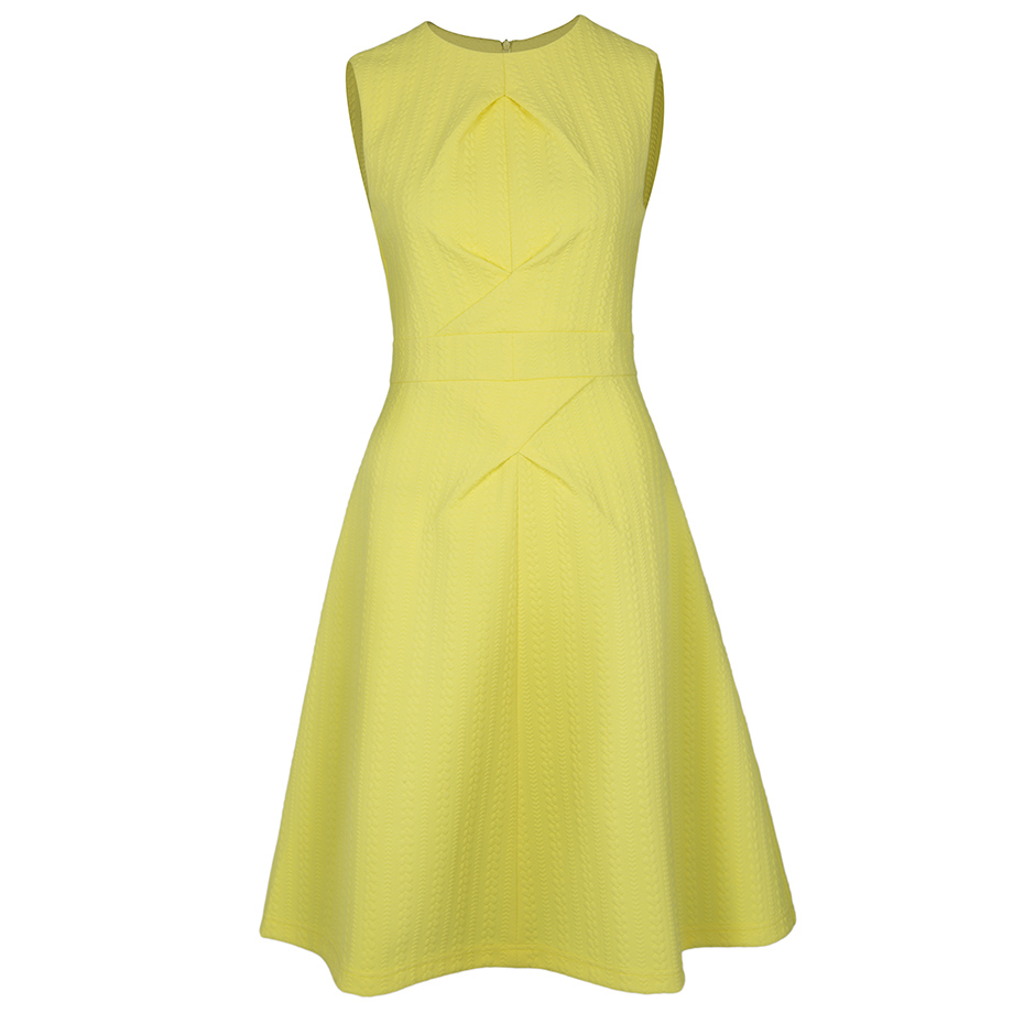 Women Sleeveless Party Dress Yellow Tank Round Neck Cocktail Ball Dress Lady Office Knee-length Solid Elegant A-Line Dresses