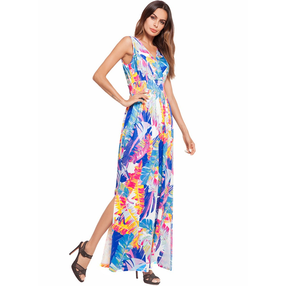 2018 Deep V Neck Banana Leaf Sexy Women Long Summer Beach Dress Sleeveless  Casual Sundresses strand jurkjes robe femme longue-in Dresses from Women s  ... 8759bbceebb3