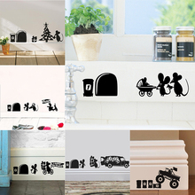 Funny Lovely Mouse Hole Wall Stickers Kids Room Decal Vinyl Mural Home Decoration Accessories For Living DIY Art Decor