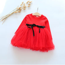 2018 New Spring Autumn Children Clothes Girls Dress Long Sleeve Girls Voile Dress Princess Red Birthday Bebe Dress For 2-6Y(China)