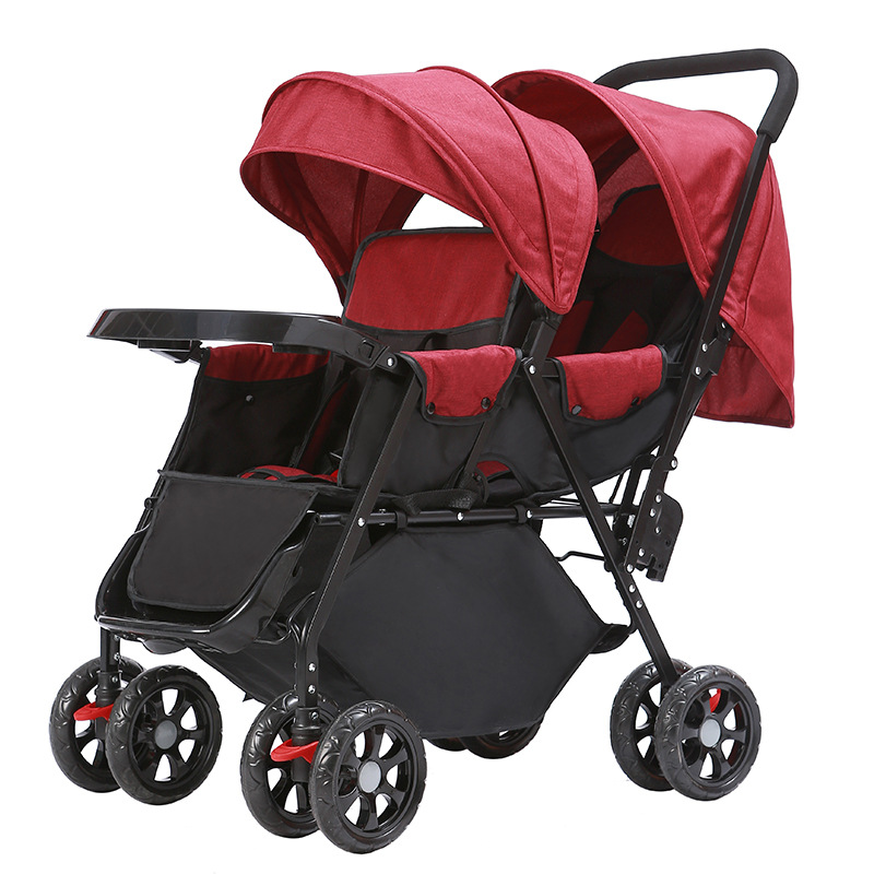 Twins strollers carriages sitting folding two seat twins baby stroller double seat baby buggy cart