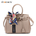 DUSUN Casual Women Messenger Bag luxury Silk Scarf Women Bags Multi color lining Design Handbags Litchi texture Shoulder Bags