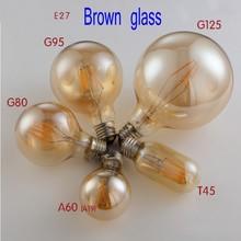 Vintage bombilla LED Luz de Edison ST64 A60 A19 G80 G95 G125 del bulbo de la bola de oro E27 W 2W 4W 6W 8W luces muy cálidas regulable