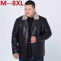 Plus size 10XL 9XL 8XL 6XL 5XL 4XL jacket fur collar genuine leather jacket men black sheepskin coat winter bomber jacket male