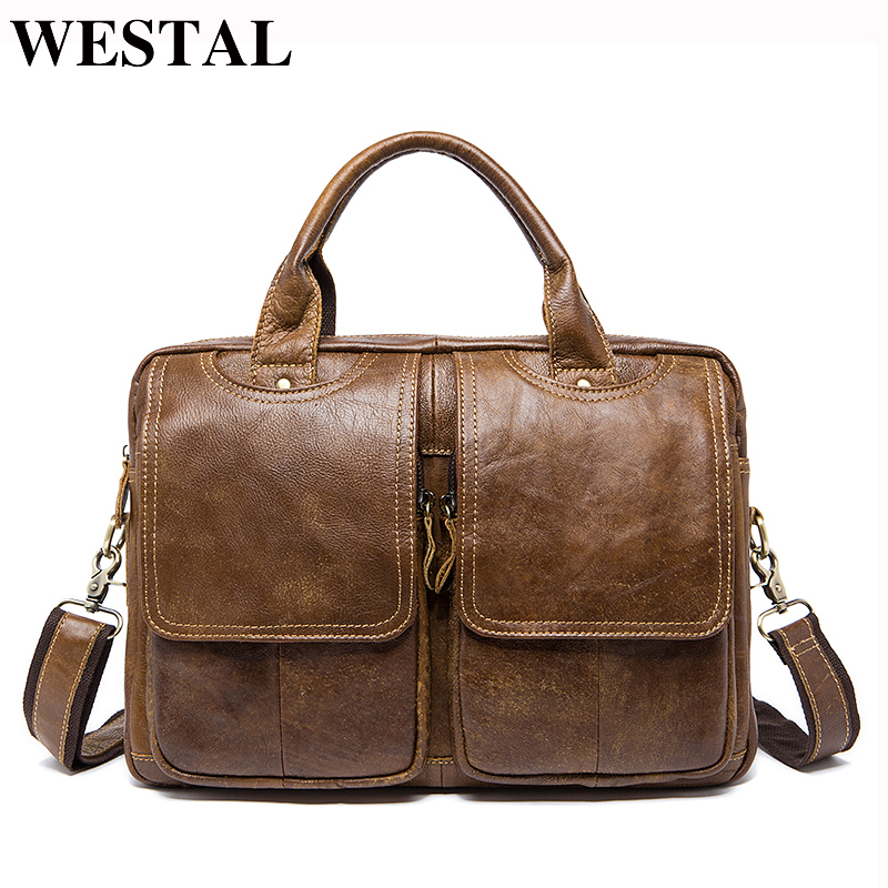 WESTAL Business Men Briefcase Bag Leather Laptop Bag Casual Men Shoulder bags Genuine Leather Bags Male