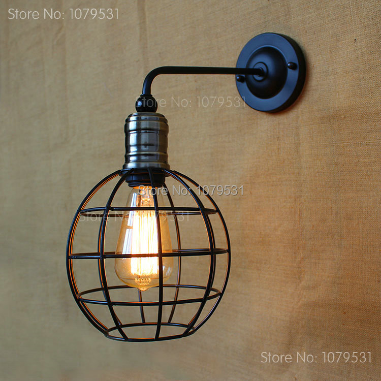 ФОТО Industrial Vintage Loft American Wall Lamps Aisle Vintage Iron Wall Light For Home Decoration,Coffe Bar Beside Lamp