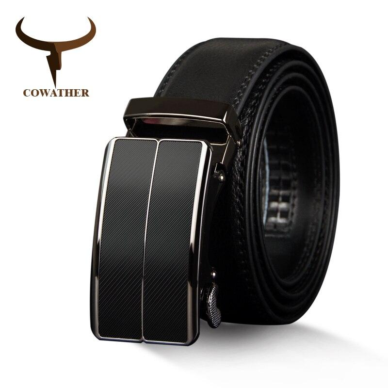 COWATHER Nouvelle Arrivée vache véritable en cuir hommes ceinture de courroie de peau de vache pour hommes automatique boucle ceintures pour hommes boucle d'alliage ceintures