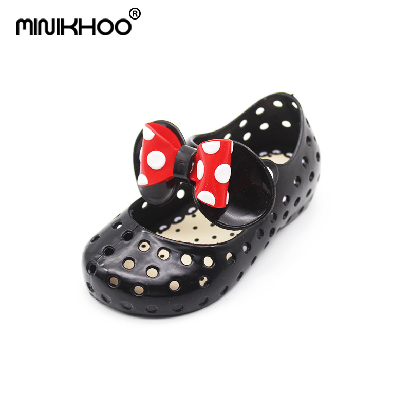 Mini Melissa Mickey Bow Jelly Sandals 2018 Girls Beach Sandals Breathable Jelly Shoes Princess Shoes 13cm-15.5cm Toddler Sandals