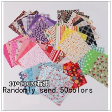 Cotton print  100% cotton printed fabric 50 quilt design cloth sewing doll DIY crafts pieces / batch 10 * 10CM delivery