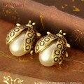 Menina do sexo feminino bonito brincos pequenos joaninha brincos de ouro brincos jóias pendientes mujer moda índice maca jornal famosas