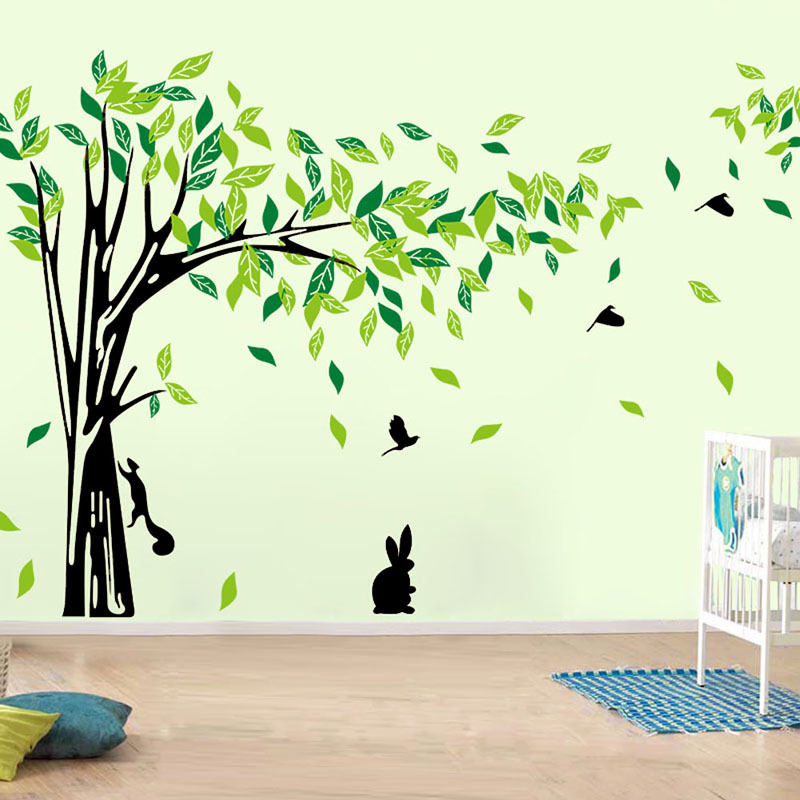 Gran Árbol Verde Etiqueta de La Pared de Vinilo vinilos paredes Salón Pegatinas