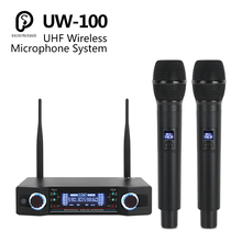 SP UW-100 UHF Professional Dual Wireless Microphone System 2 Channel 2 Handheld Cardioid Mic kit For Karaoke/party/Meeting/Stage high end uhf 8x50 channel goose neck desk wireless conference microphones system for meeting room
