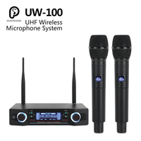 SP UW 100 UHF Professional Dual Wireless Microphone System 2 Channel 2 Handheld Cardioid Mic kit For Karaoke/party/Meeting/Stage