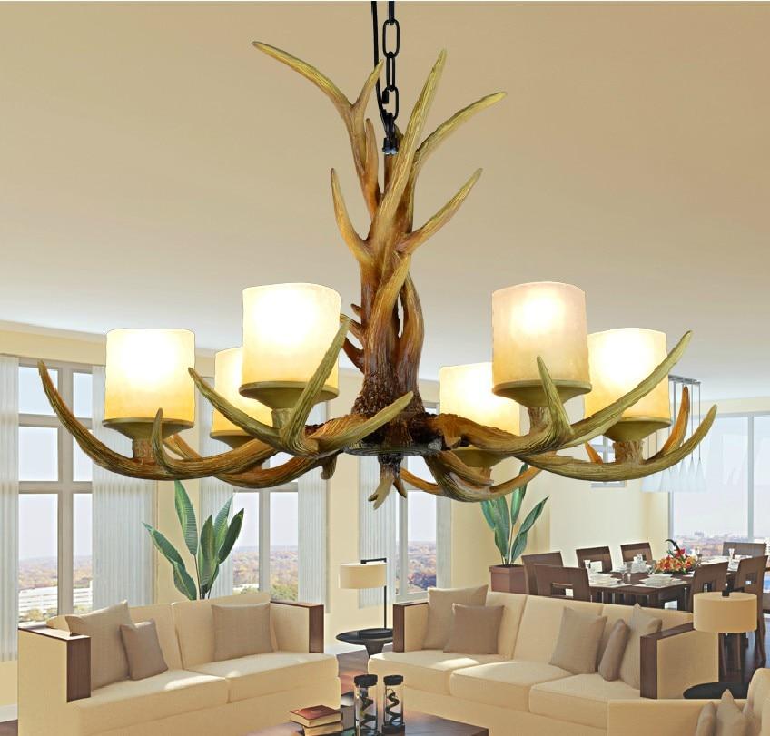 цена на Europe Country 6 Heads American Retro Chandelier Light Resin Deer Horn Antler Glass Lampshade Decoration, E27 110-220V