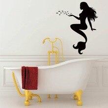 Beautiful mermaid girl sitting room wall decals vinyl stickers Art Mural DIY home decor F-168