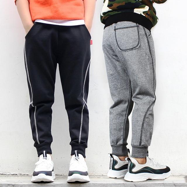 a713487109a53 Children Boy Sports Pants Korean Fashion Cotton Autumn Side Stripe Teen Boy  Harem Pants 4-14 Year Casual Boys Sport Joggers