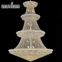 Modern Luxury Led Large Chrome Gold Luster Crystal Chandelier Light Fixture Classic Light Fitment for Hotel Lounge Decoratiion