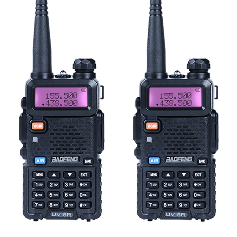 2pcs Lot Baofeng UV 5R Walkie Talkie Portable Radio 128 Dual Band Two Way Radio UHF