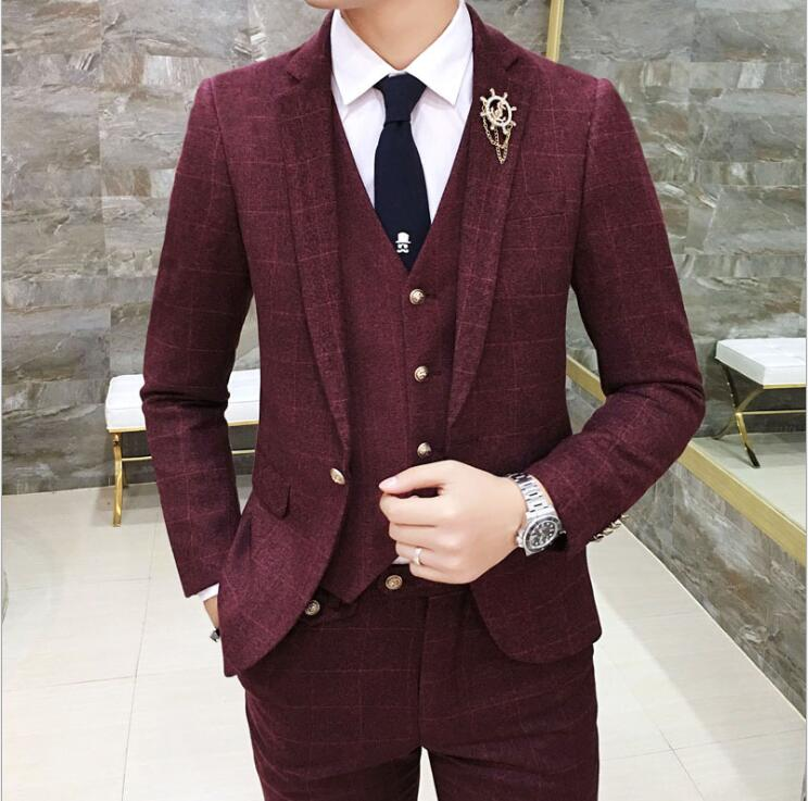 Suit jacket men's Korean fashion wild wedding dress groomsmen dress business casual small blazers suits