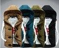 2016 hombres de la Moda Chaquetas de Invierno Diseño de la Cremallera Ropa de Hombre Veste Homme Hombres Sudaderas Con Capucha de Down Escudo Outweat