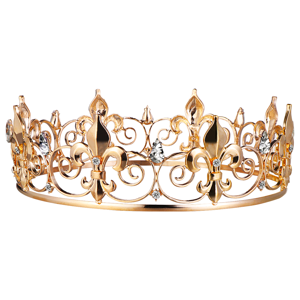 Frcolor Vintage Crown Wedding Tiara Elegant Bridal Gold Headband Hair Jewelry Accessories Unisex Wedding Birthday Party Supplies in Party DIY Decorations from Home Garden