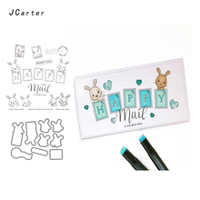 JC Rubber Stamps and Metal Cutting Dies for Scrapbooking Craft Die Cut Rabbit Happy Mail Stamp Card Making Stencil Album Decor