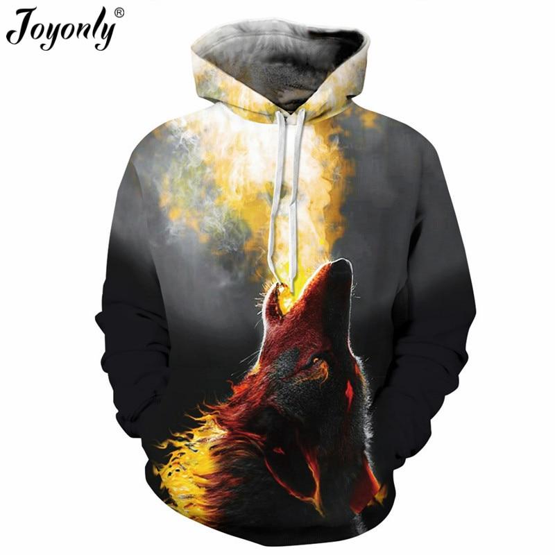 Joyonly 2018 Women Men 3D Spitfire Animal Hoodie Unisex Long Sleeve Hooded Thin Tracksuit Fire Wolf Pullover Hoodies Sweatshirts